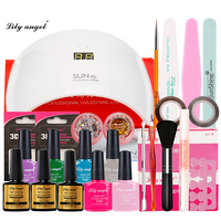 Home Use UV GEL Sun Led Lamp SUN 9S & 6 Colors UV Gel Nail Art Tool Kits Base/Top Coat manicure set gift for Girl friend