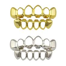 Drop Shipping Hip Hop Gold Teeth Top & Bottom Dental Mouth Punk Teeth Caps Cosplay Party Tooth Rapper Jewelry Gift(China)
