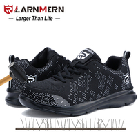 LARNMERN/черная рабочая обувь со стальным носком для мужчин; противоскользящая Строительная обувь; мужские ботинки