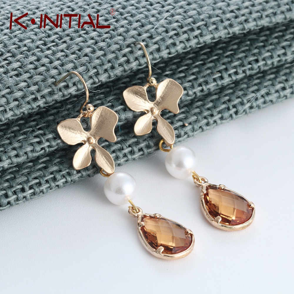 Kinitial Tiny Orchid Floral Shape Simulated Pearl Crystal Long Dangle Earrings Wedding Bridal Party Vintage Leaf Earring Jewelry