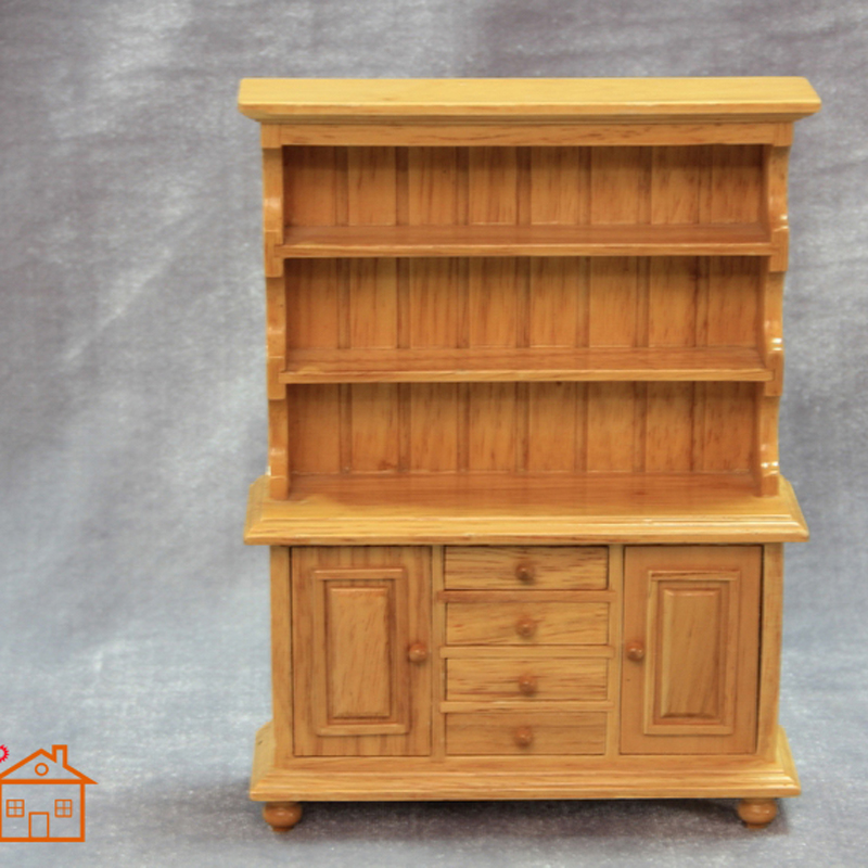 Kitchen bowl Hutch Cupboard miniature dollhouse furniture wood 1/12 scale #C003