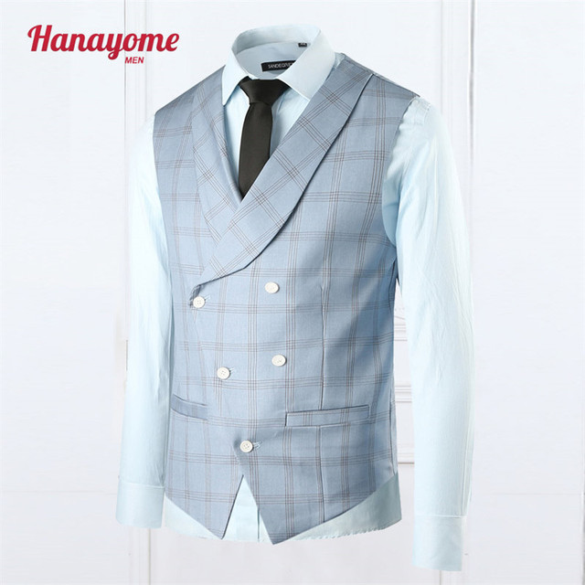 Blue Vest Famous Brand Plaid Double Breasted Wedding Suit 1pc Vests Light Blue Tuxedo Suits For Male 2016 NEW Arrival SI018