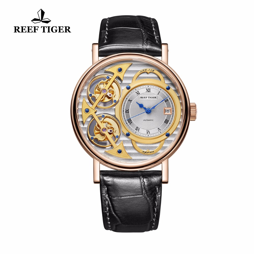 Relogio Masculino 2018 Reef Tiger Designer Fashion Watches Luxury Leather Waterproof Automatic Mechanical Watch Reloj Hombre mens automatic mechanical watches fashion business watch men leather waterproof male wristwatches reloj hombre relogio masculino