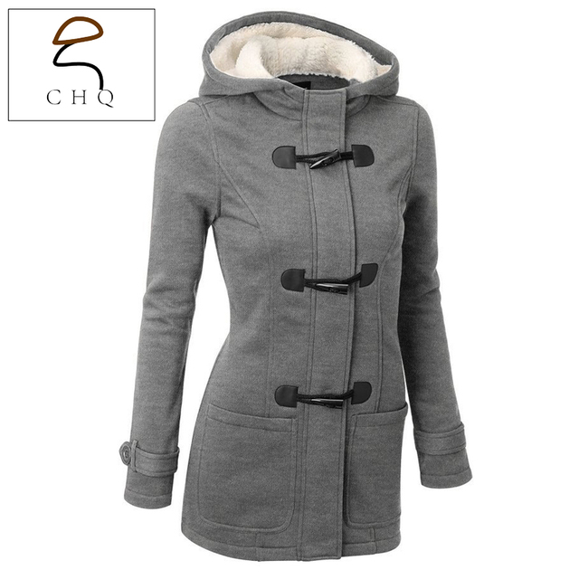 Winter Jacket Women Hooded Winter Coat Fashion Autumn Women Parka Horn Button Coats Abrigos Y Chaquetas Mujer Invierno 2016