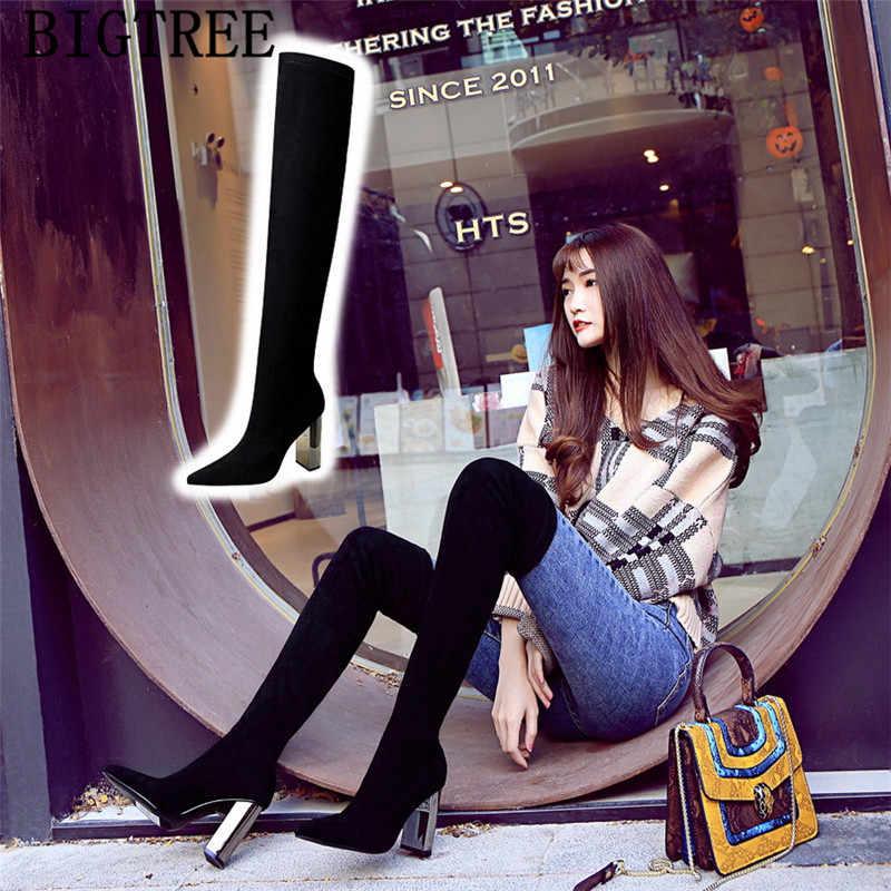 Zwarte laarzen dikke hak over de knie laarzen bigtree schoenen cuissardes sexy talons hauts botas mujer invierno 2019 hoge hak laarzen