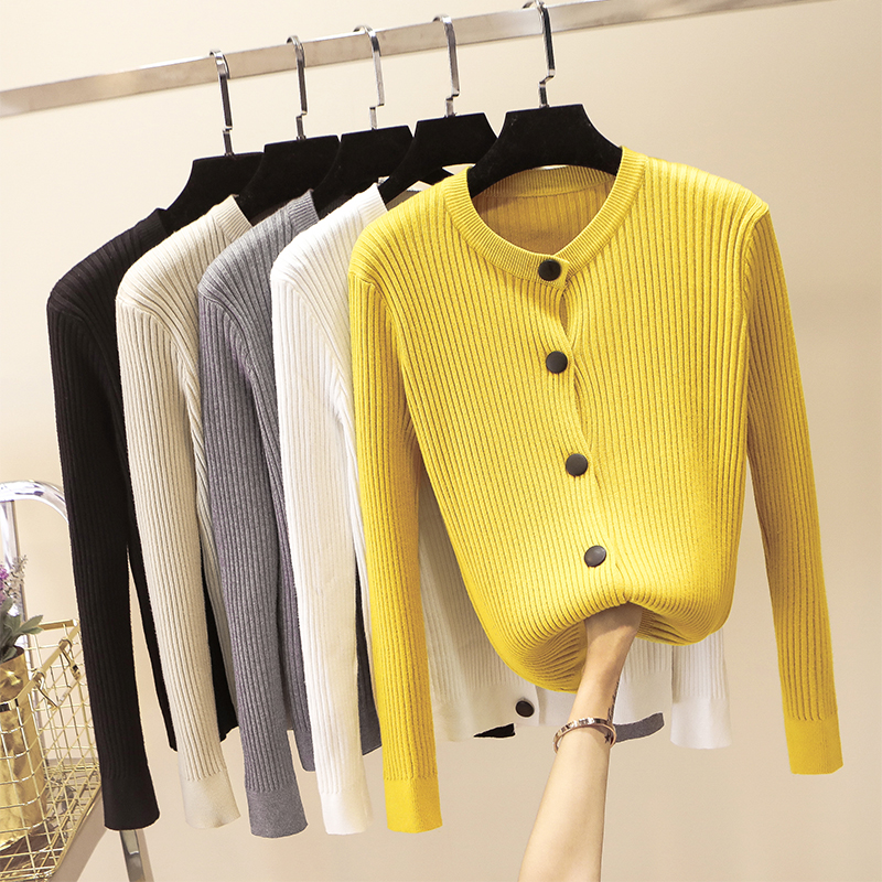 Women Cardigan Sweater 2018 Autumn Winter Ribbed Knitted -1492