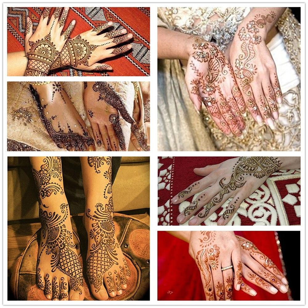 15 Designs 1 Pair Hands Mehndi Henna Stencil Flower Lace Tattoo