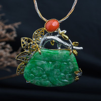 Retro Thai Silver Jewelry High end Custom Creative Hand made S925 Sterling Silver Hand set Jade Pendant And Brooch Dual use