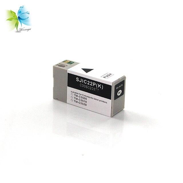 Winnerjet 10 ensembles 4 couleurs 30 ml SJIC22P cartouche dencre Compatible pour imprimante Epson TM-C3500 C3510 C3520