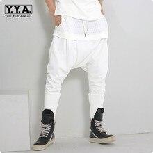 Mens Casual Harem Pants Black White Loose Drop Crotch Cotton Wide Leg Comfort Free Size Solid Cargo Pantalon Pantacourt Homme