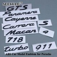 1pc SEEYULE Matt Black ABS Car Model Emblem Tail Sticker Logo For Porsche Panamera Boxster Cayenne
