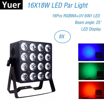 Aluminum Alloy LED Par 16X18W RGBWA+UV 6IN1 LED Par Can Par Led Spotlight Christmas Projector Wash Lighting Effect Dj Light Club tiptop wireless battery powered portable uplights 6 6w 6in1 led par light rgbwa uv slim par can with irc for wedding decoration