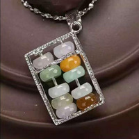 yu xin yuan Fine Jewelry natural feicui jade 925 silver Abacus beads necklace pendant for fashion charm women jewelry