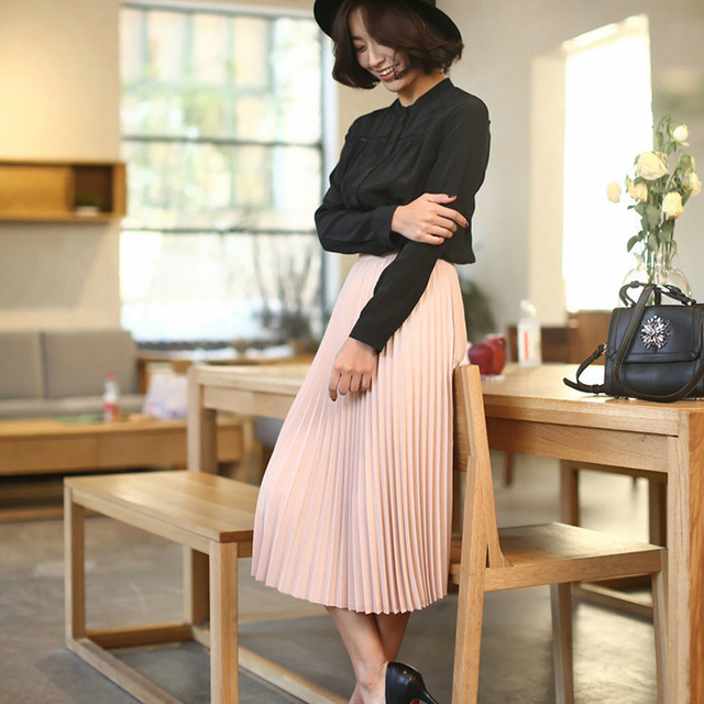New Fashion High Waist Pleated Solid Color Half Length Elastic Skirt Promotions 4