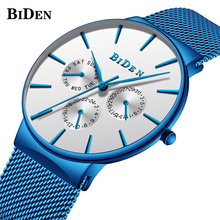New Fashion Watches for Men Top Brand BIDEN Luxury Blue Watch Male Stainless Steel Mesh Band Ultra Thin Quartz Men's Wrist Watch цена