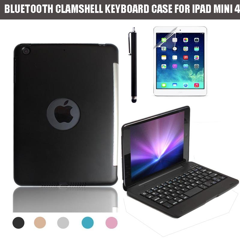 ФОТО For Apple iPad Mini 4 2015 3-in-1 Ultra Slim Shell Aluminium Folio ABS Wireless Bluetooth Keyboard Carrying Stand Case Cover