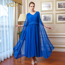 VOA Brand Silk Chiffon Women Bohemian Long Dresses Party Elegant Robe Longue V-Neck Sleeveless Pleated 2017 New Summer A5703