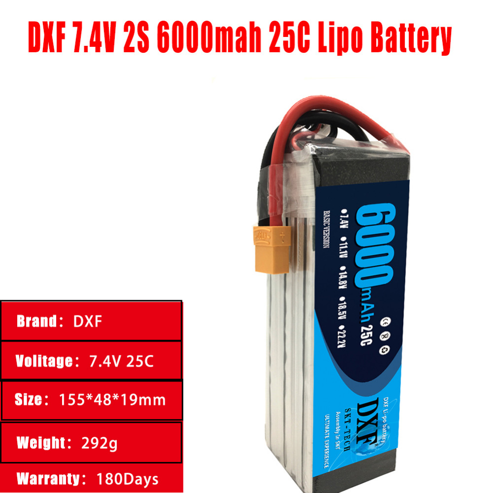 DXF Battery <font><b>Lipo</b></font> <font><b>2S</b></font> 7.4V <font><b>6000mAh</b></font> 25C For RC Drone Helicopter Quadcopter Car Boat Airplane Truck Remote Control Toys image