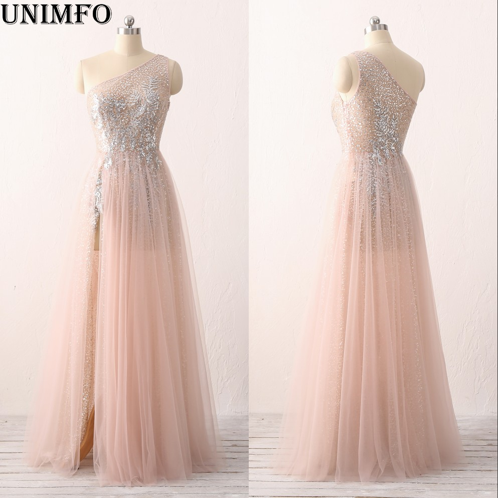 2019 New Blush Pink Lace   Bridesmaid     Dresses   Junior Maid   Dress   Sexy Sheer Back   Dress   Tulle Split Custom Made Prom