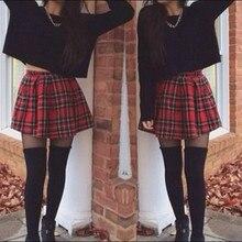 Женская высокая талия Skater Flared красная клетчатая плиссированная короткая мини-юбка шорты