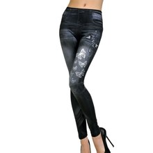 2017 Sexy Women High Waist Stretchy blue Slim Leggings Casual Skinny line Butterfly Printed Jegging Pencil Pants