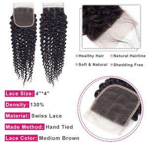 Image 4 - Bling Hair Extensión de cabello humano Remy, 3 mechones rizados con cierre 100% extensiones de pelo ondulado mechones brasileños con cierre de encaje 4x4