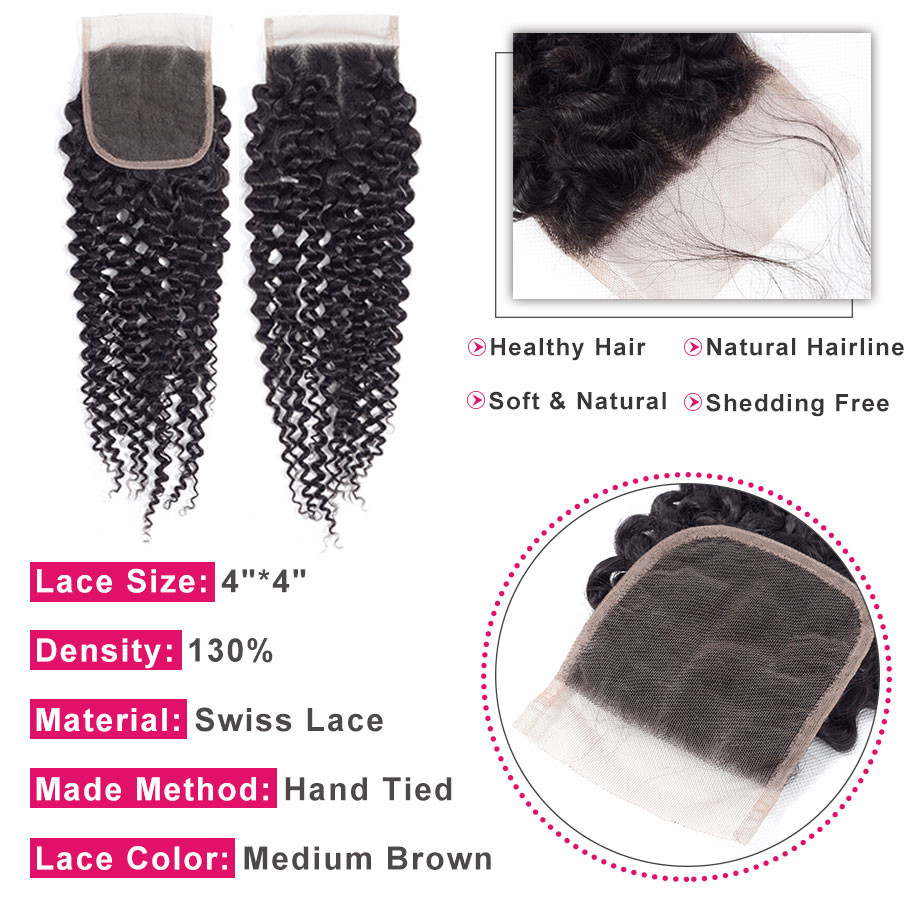 Image 3 - Bling Hair Kinky Curly 3 Bundles with Closure 100% Remy Human Hair Extension Brazilian Hair Weave Bundles with 4*4 Lace Closure-in 3/4 Bundles with Closure from Hair Extensions & Wigs