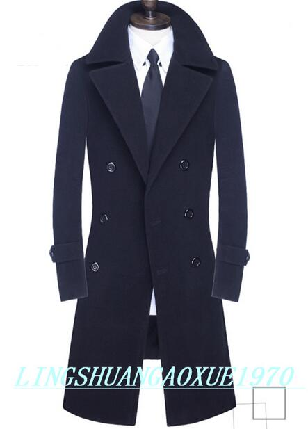 Winter double breasted wool coat mens trench coats slim fashion casual coat men overcoat jaqueta masculina