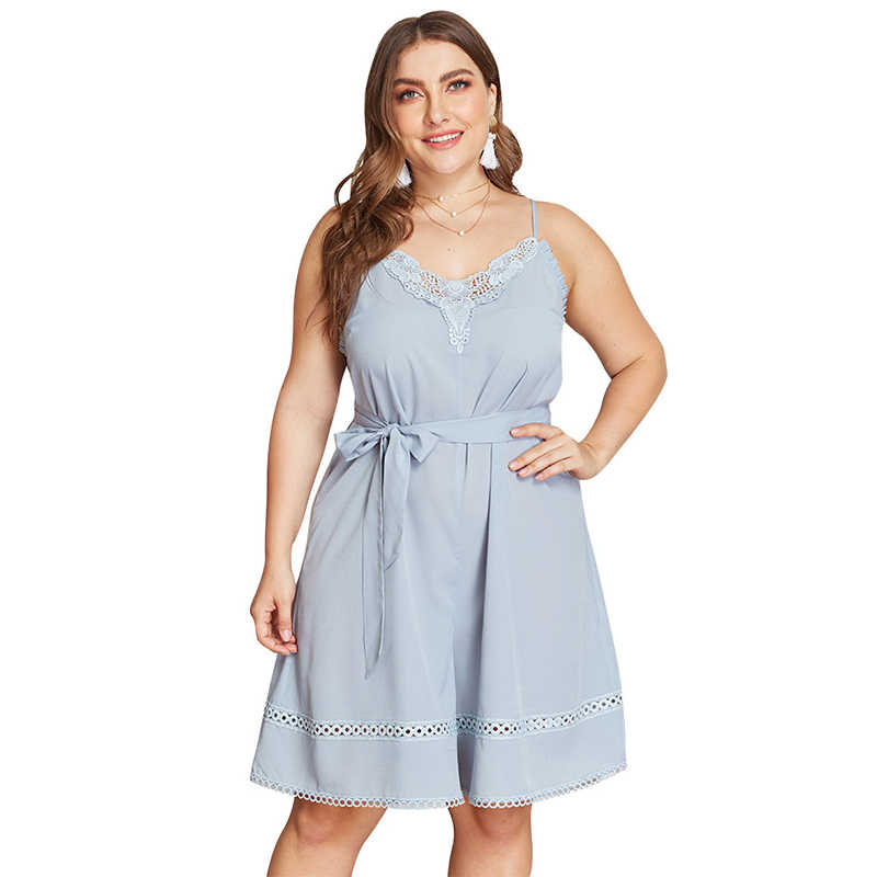 WHZHM размера плюс 3XL 4XL комбинезоны кружева v-образным вырезом синий сексуальный ремень женские комбинезоны без рукавов летние пояса Комбинезоны женские боди