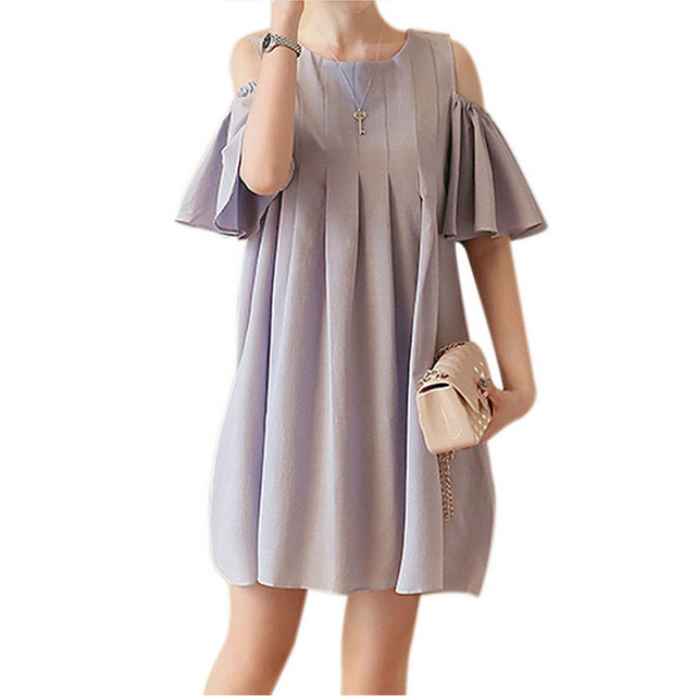 Fashion 2018 Maternity Clothes Dresses for Pregnant Women Short Sleeved  O-Neck Pregnancy Woman Dress Pregnant Clothing M-2XL 21e445850443