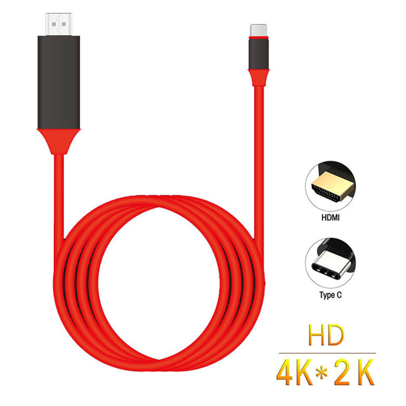 Basix type C to HDMI Cable USB 3.1 to HDMI 4K High 2M Speed Adapter Cables for MacBook Pixel ChromeBook Samsung S8/S8