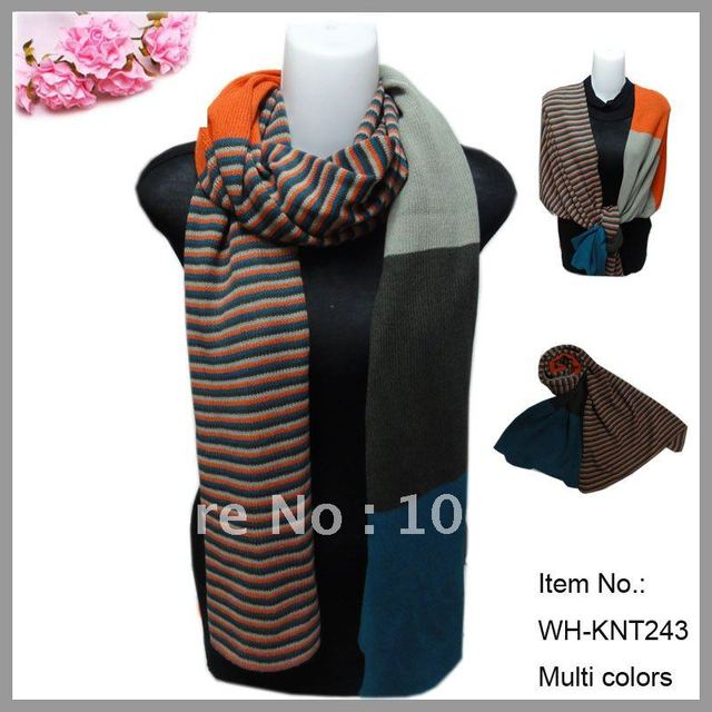 6pcs/lot free shipping, wholesale fashion ladies colorized striped knitted shawl scarf for winter