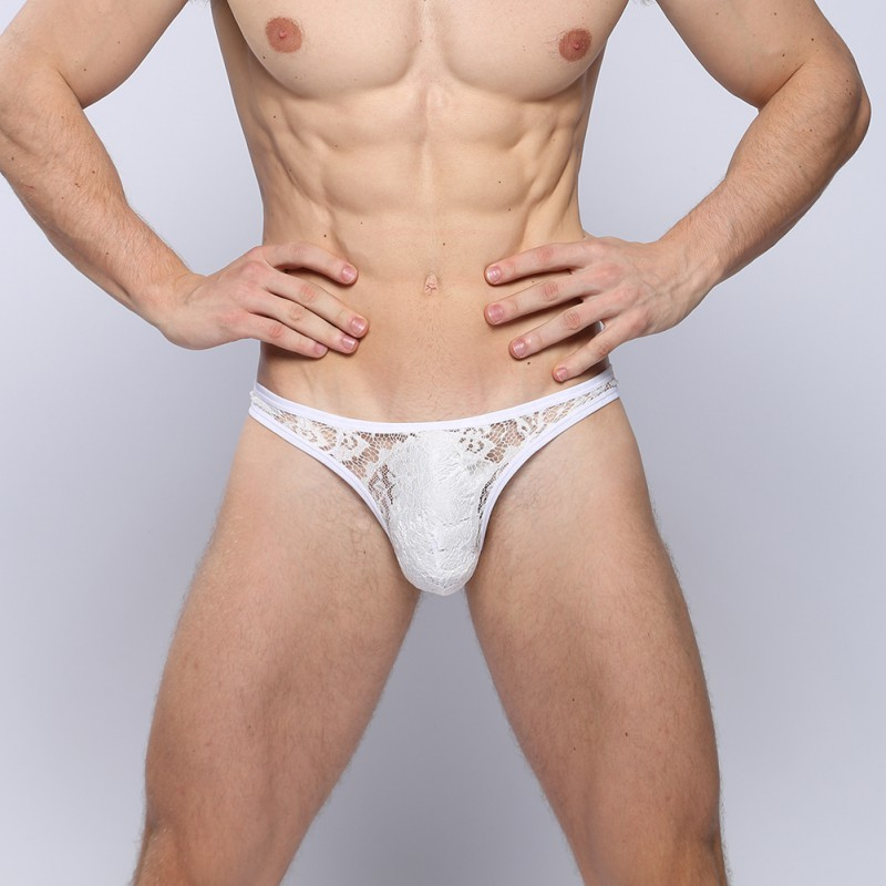 <font><b>2018</b></font> <font><b>Sexy</b></font> Men's <font><b>Underwear</b></font> Lace Thong T Transparent Breathable G-Strings & Thongs Man <font><b>Briefs</b></font> Y26 image