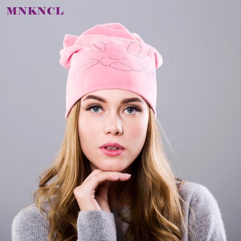 цены  Girls Beanie cap with ears skullies Beanies for ladies diamond hats for women winter warm caps women cat hat bone touca