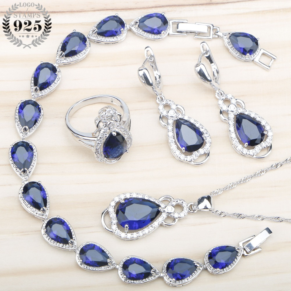 Blue Drop Zircon 925 Silver Jewelry Sets Women Bracelets Necklace&Pendant Stones Set With Earrings Rings Jewelery Gift Box