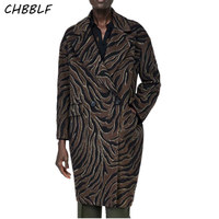 CHBBLF women zebra print long woolen coat double breasted long sleeve warm outerwear retro coat POP1710
