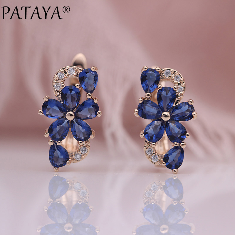 HTB1CDrbKbGYBuNjy0Foq6AiBFXa9 - PATAYA New Water Drop Plum Blossom Dangle Earrings Women Fashion Trendy Jewelry 585 Rose Gold Petal Natural Zircon Blue Earrings