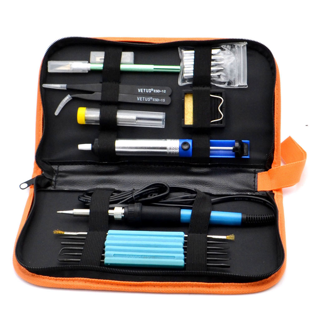 60 Watt 220 V Eu-stecker Elektrische Lötkolben Hand Schweißen Repair Tool Einstellbare Temperatur Löten mit 5 tipps draht pinzette