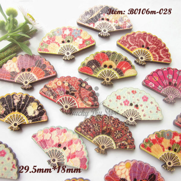 Scrapbooking buttons 100pcs mixed pattern folding fan for Decorative pins for crafts