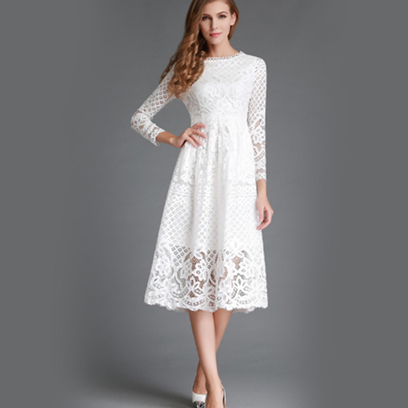 High Quality Elegant Hollow Out Lace Dress Women Long Sleeve Autumn Style Midi-calf White Lace Dress Spring Party Dress Vestidos