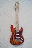 Miễn phí vận chuyển ST phong cách TRO gỗ electric guitar ba đơn pickups red preal pickguard