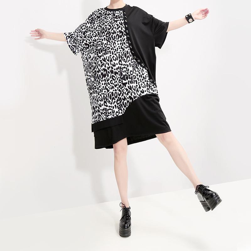Z-ZOUX femmes robe imprimé léopard Patchwork femme robe courte col rond manches courtes lâche robes d'été femmes tenue décontracté 2019