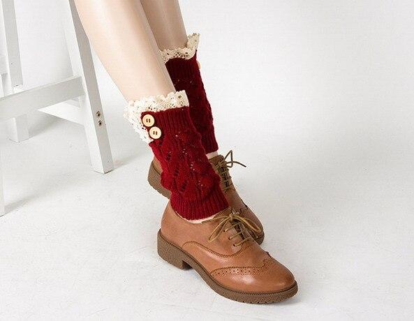 Damen Mädchen Gehäkelt Gestrickt Spitzenrand Winter Wärmer Bein Stiefel Bündchen