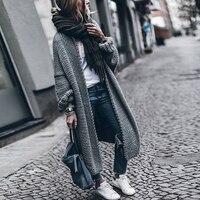 Herbst Winter Europa Amerika Straße Snap Pullover Lange Strickjacke Plus Größe frauen Kleidung Lose Dicke Strickwaren