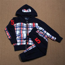 autumn plaid boys clothing sets 2016 new thin coats patchwork Zipper hoodies +pants 2 pcs sport suits long sleeve kids clothes