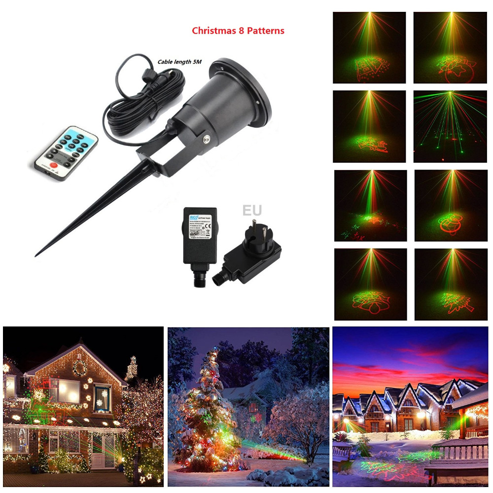 Laser Christmas Lights 8 Xmas Patterns Outdoor Ir Remote
