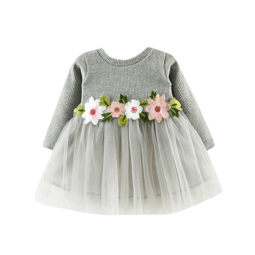 2019 Toddler Kids Baby Girls Long Sleeve Lace Party Princess Dress Flower Casual Outdoor Dress