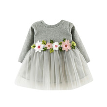 2019 Peuter Kids Baby Meisjes Lange Mouwen Lace Party Prinses Jurk Bloem Casual Outdoor Jurk(China)