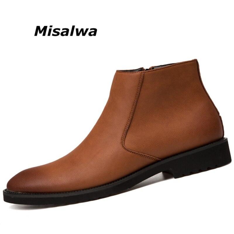 Misalwa Fashion Thin Simple Zipper Men Leather Boots Gray Black Brown Big Size 38 45 British