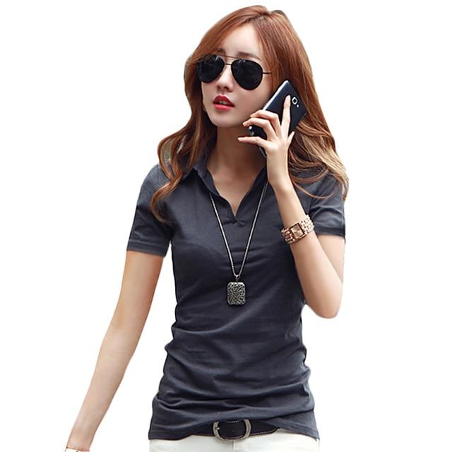 8c7ff08bc4ef Verano Delgado Polo Shirt mujeres nueva moda algodón de manga corta Polos  camisa negro Tops rojos